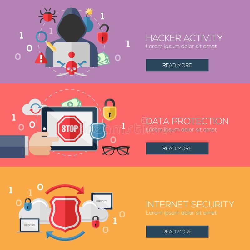 黑客活动的,数据平的设计观念 库存例证