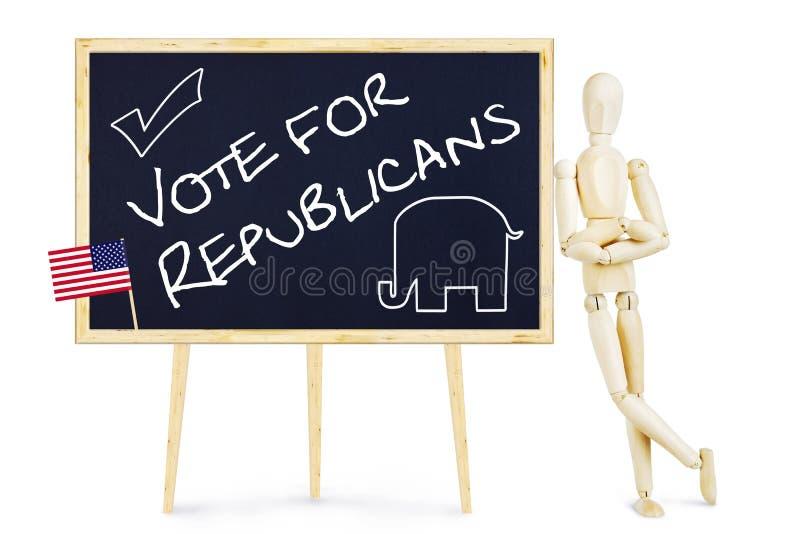 宣传员鼓励投票支持美国竞选的共和党人 免版税库存照片