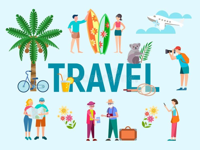 宣传手册和横幅设计的旅行构成  向量例证