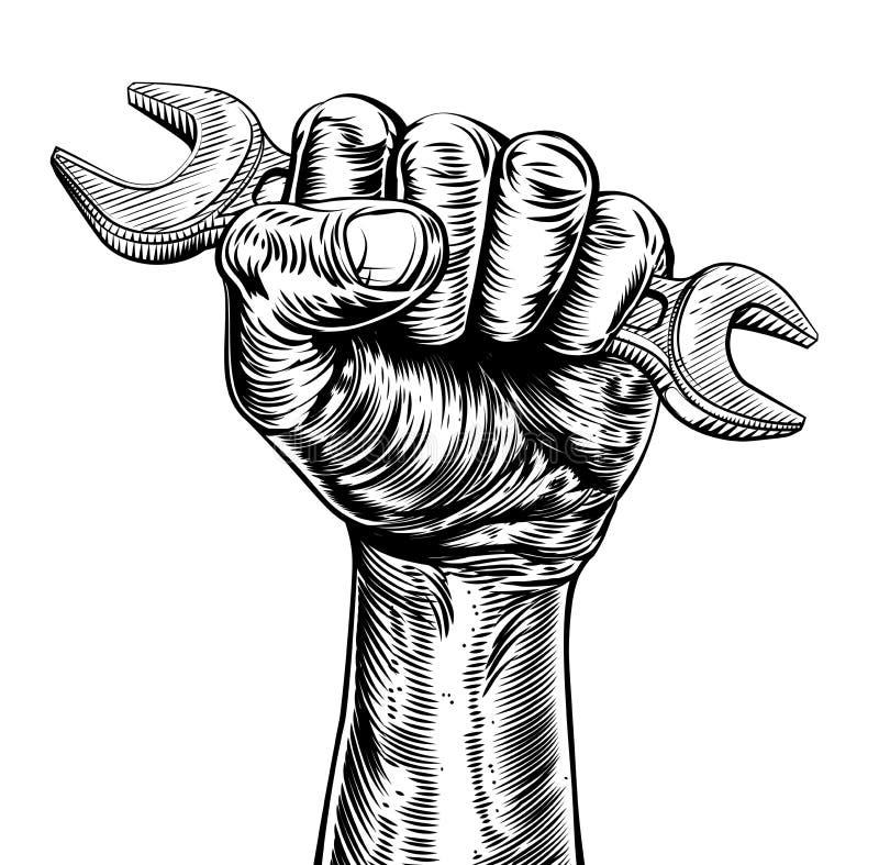 宣传木刻拿着扳手的拳头手 库存例证