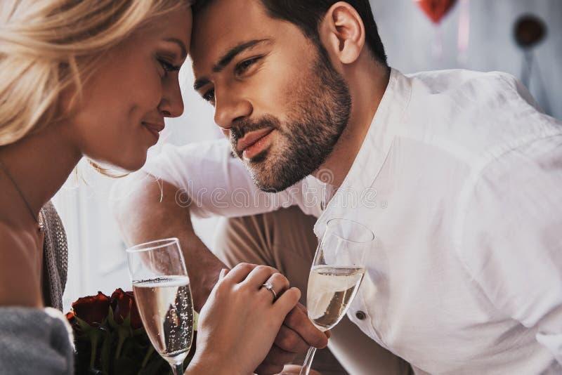 宣扬爱 美好的年轻夫妇饮用的香槟 库存图片