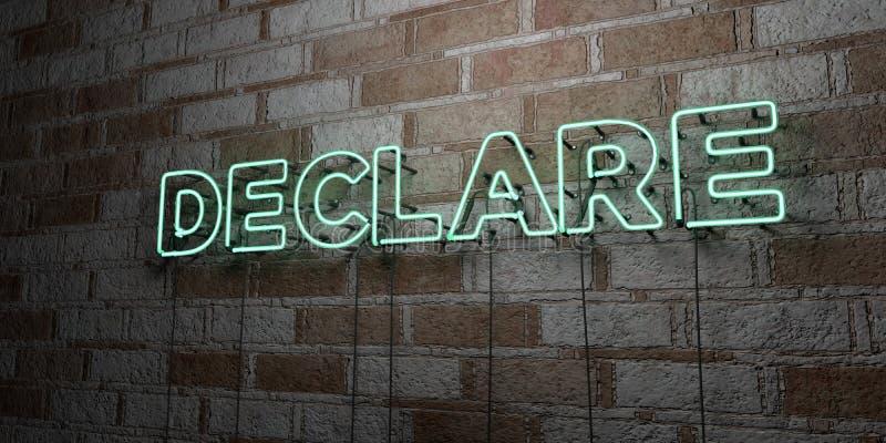 宣称-在石制品墙壁上的发光的霓虹灯广告- 3D回报了皇族自由储蓄例证 向量例证