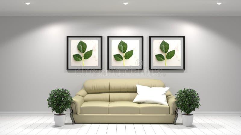 室内墙在白色墙壁背景的嘲笑与现代沙发和绿色植物和框架 向量例证