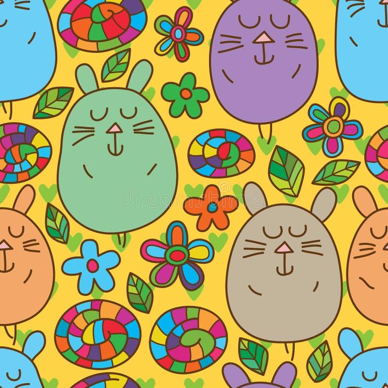 室内天线猫逗人喜爱的无缝的样式 库存例证