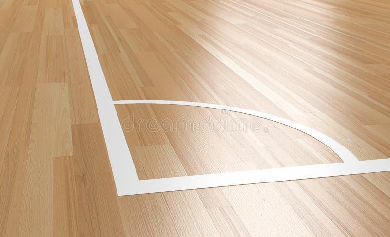 室内木法院的角落 向量例证