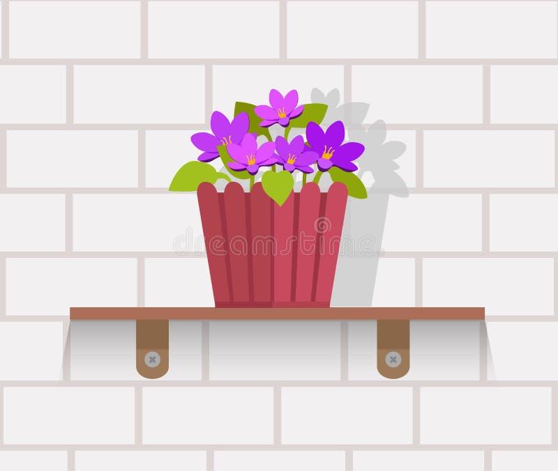 室内植物设计平的概念 库存例证