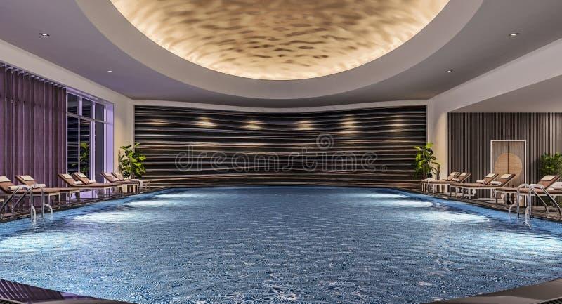 室内游泳场,夜景,旅馆手段,温泉现代室内设计有水池床的,大反差,黑暗 免版税库存照片
