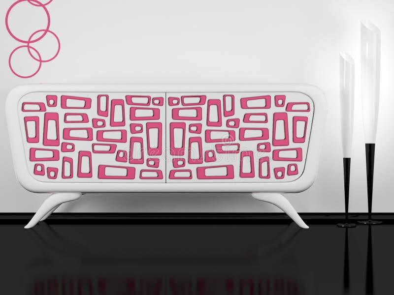 室内现代桃红色餐具柜白色 库存例证