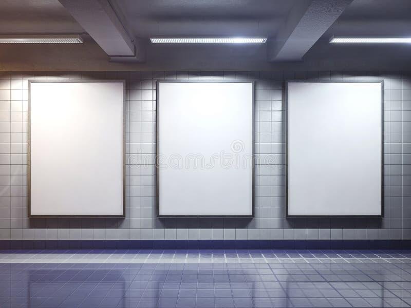 室内白色空白的广告牌海报 库存照片