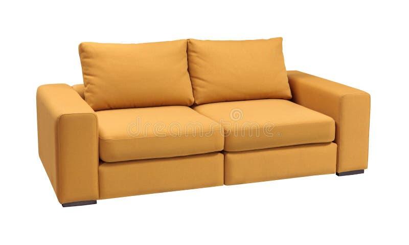 室内装饰品与在与裁减路线的白色背景隔绝的枕头的沙发集合 免版税库存照片