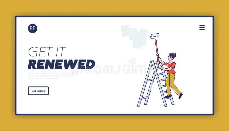 室内设计、维修、房屋装修及重新装修网站登录页 女工站在梯子上 库存例证