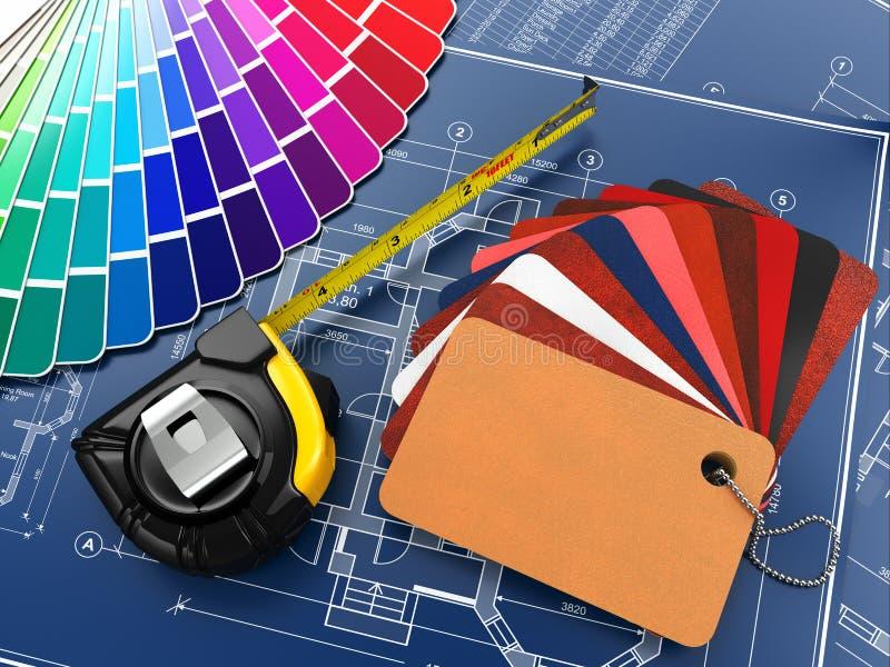 室内设计。 建筑材料工具和图纸 皇族释放例证