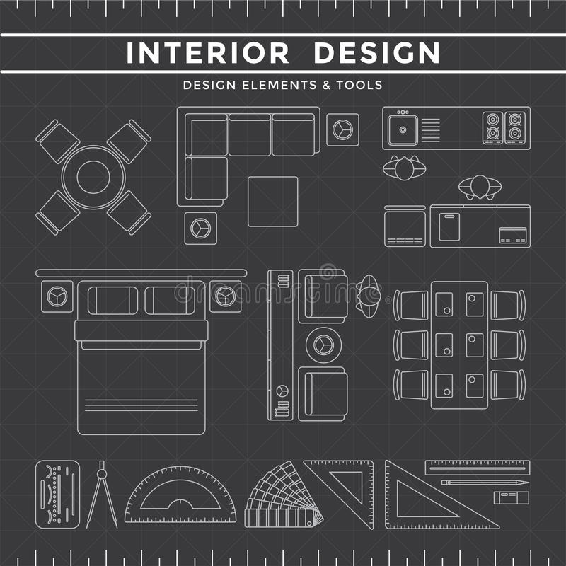 室内设计元素&工具在黑暗的背景 库存例证