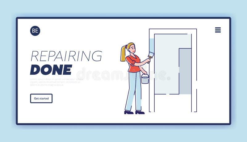 室内设计及房屋装修、房间维修及重新装修网站登录页 向量例证