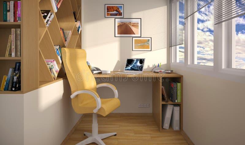 室内设计在阳台的工作区域 皇族释放例证