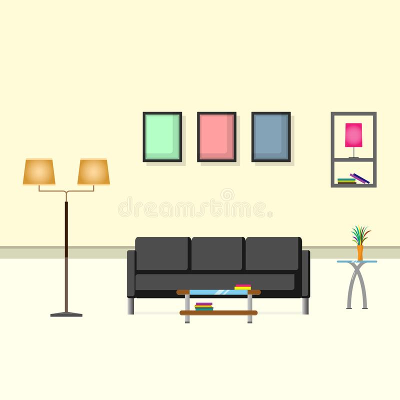 室内设计奶油有沙发、灯、花瓶和画框的颜色客厅 向量例证