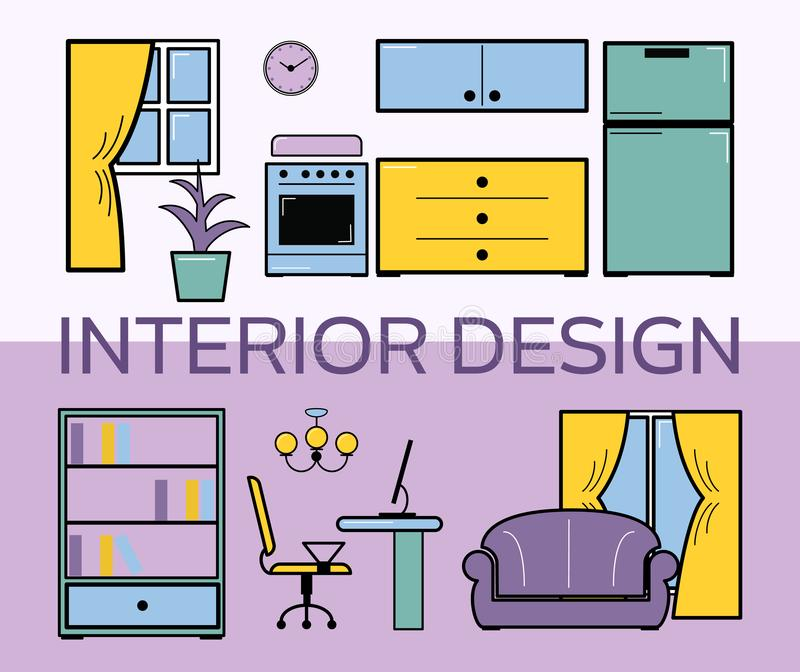 室内设计室平的样式集合传染媒介例证 有家具的客厅 淡紫色室内设计室 shelfs 向量例证