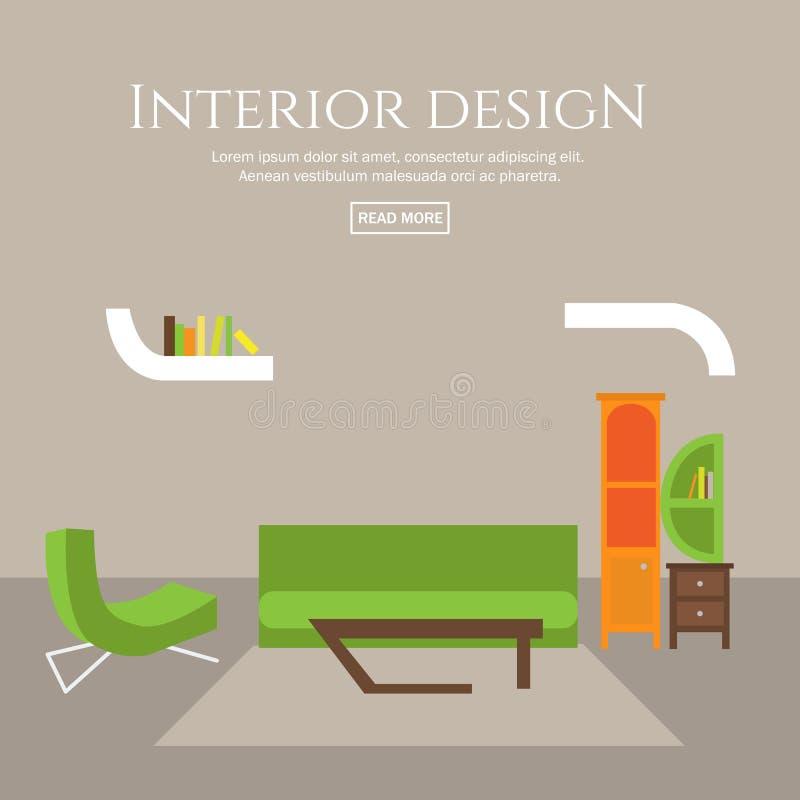 室内设计平的样式概念集合 库存例证
