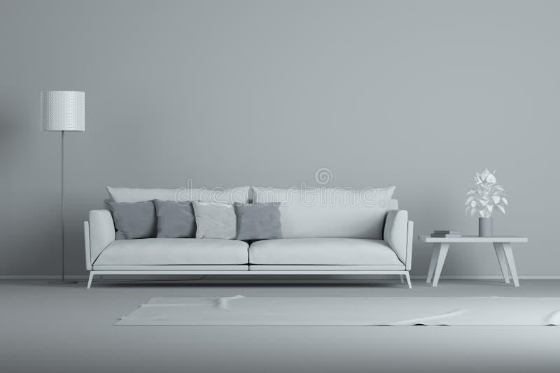 室内设计最小的样式概念 灰色现代沙发在灰色客厅图片