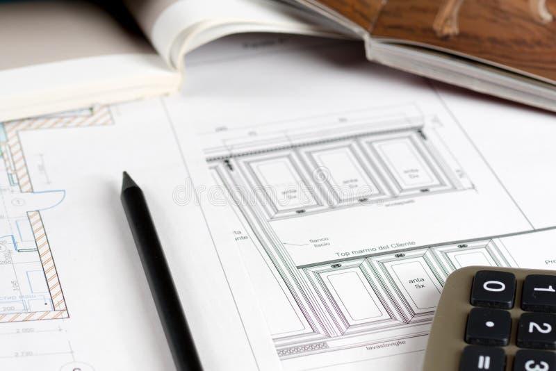 室内设计概念,厨房剪影家具编目 免版税库存照片