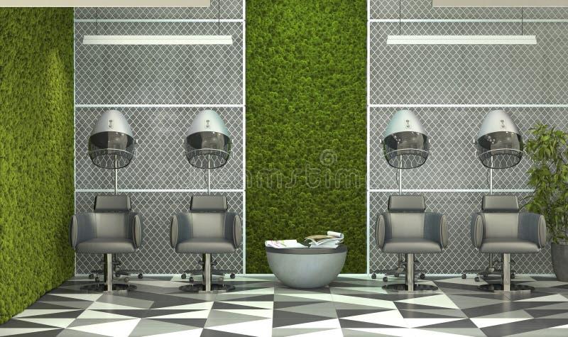 室内设计理发店 复式风格的美容沙龙,混凝土墙上贴满苔藓 3D渲染 库存例证
