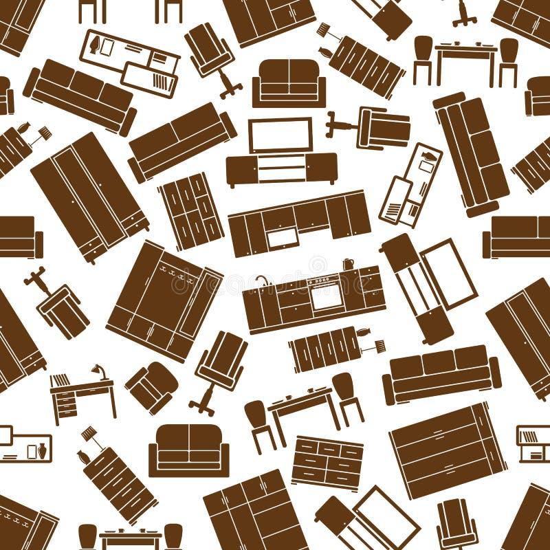 室内设计的无缝的陈设品样式 向量例证