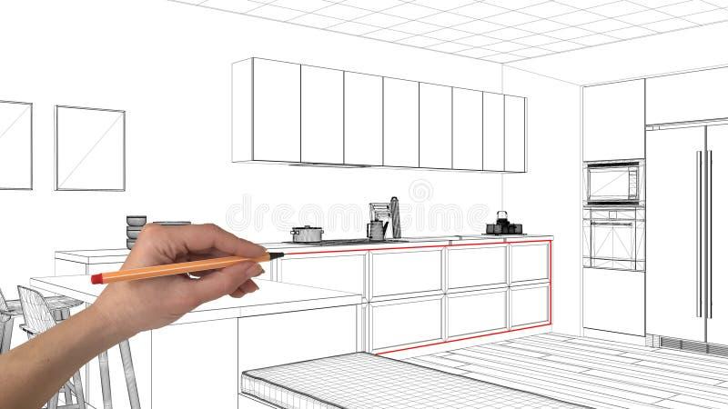 室内设计项目概念,手图画习惯建筑学,黑白墨水剪影,显示最小的厨房的图纸 库存照片