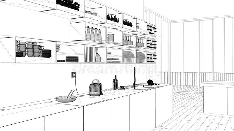 室内设计项目,黑白墨水剪影,显示有内阁和架子的建筑学图纸白色厨房,开放 向量例证
