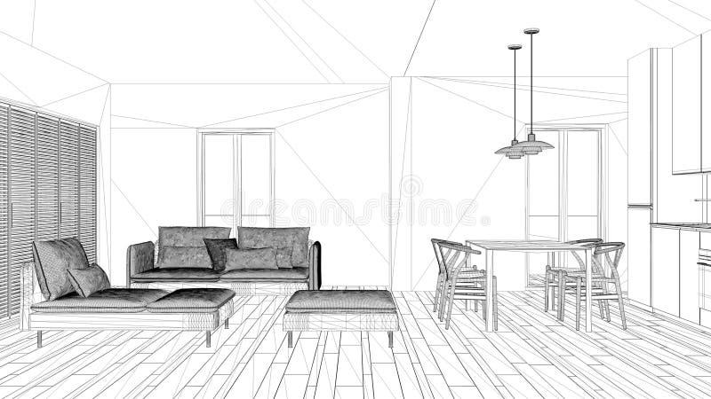 室内设计项目,黑白墨水剪影,显示现代客厅的建筑学图纸 向量例证