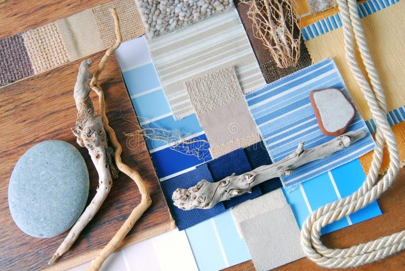 室内设计颜色和室内装饰品计划 库存图片