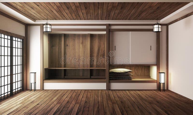 室内设计,有桌的现代客厅在榻榻米垫地板日本风格 3d?? 皇族释放例证