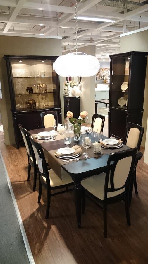 室内设计:饭厅 免版税库存图片