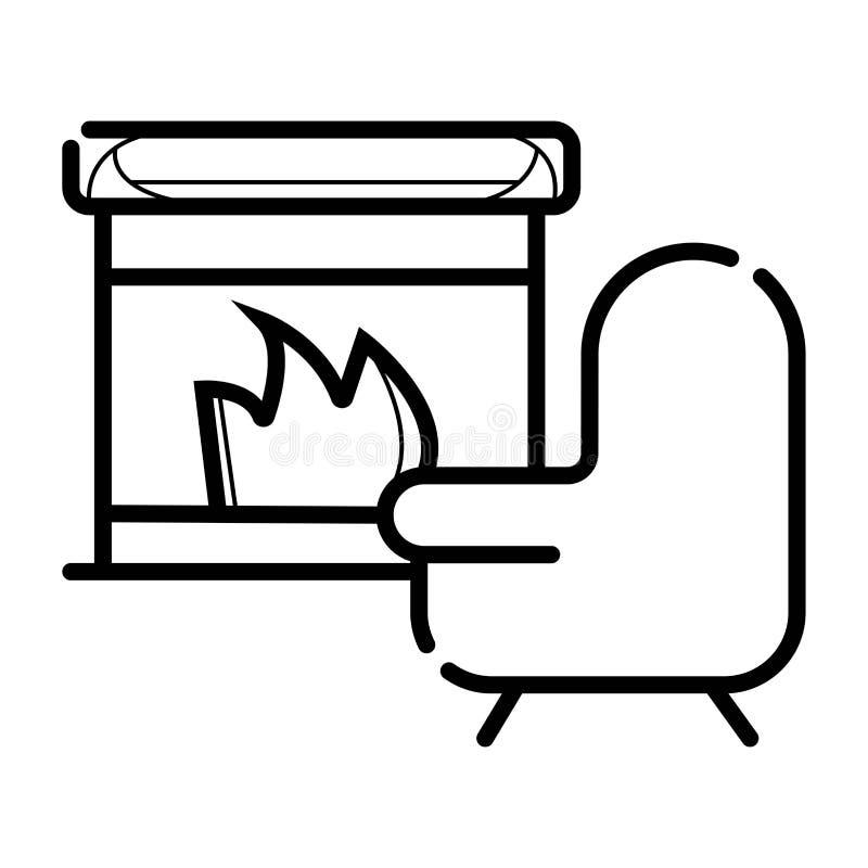 室内部壁炉 库存例证
