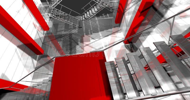 室内3d。现代工业内部,台阶,干净的空间 皇族释放例证