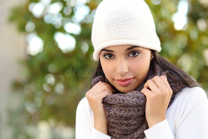 室外一名美丽的阿拉伯的妇女的面部画象 免版税库存照片