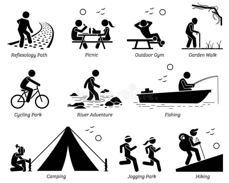 室外休闲消遣生活方式和活动 向量例证