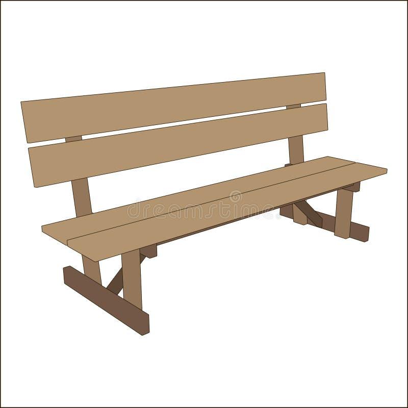 室外传染媒介经典街道都市长凳木样式 在白色背景隔绝的帕克对象 放松的葡萄酒地方 库存例证