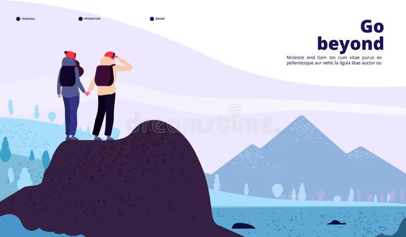 室外冒险着陆 加上看起来新的天际的背包登山 健康生活方式旅游业网 皇族释放例证