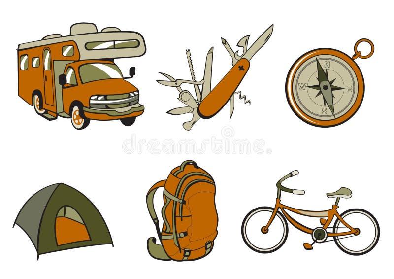 室外和野营的图标 库存例证