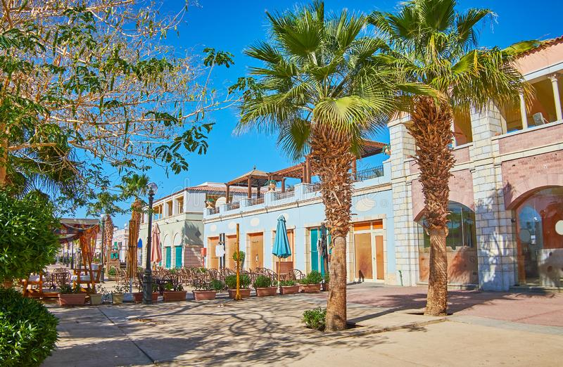 室外咖啡馆在Sharm El谢赫,西奈,埃及 免版税库存照片