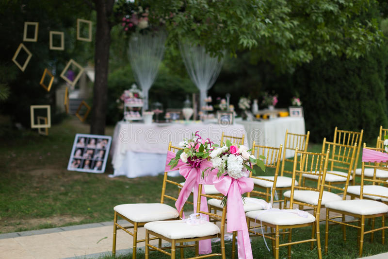 室外场面婚礼 免版税库存照片