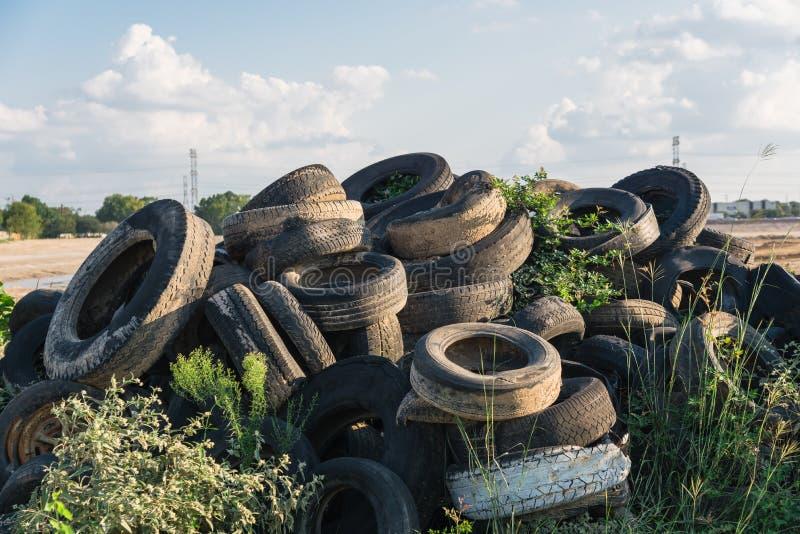 室外堆使用的轮胎 库存照片