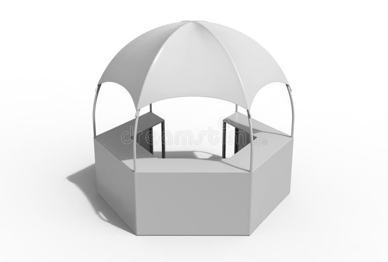 室外多功能有增进柜台的, 3d商业展览显示圆顶报亭六角亭子机盖帐篷回报illustr 库存例证