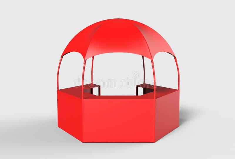 室外多功能有增进柜台的, 3d商业展览显示圆顶报亭六角亭子机盖帐篷回报illustr 向量例证