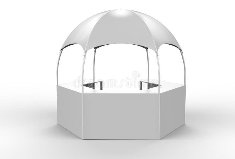 室外多功能有增进柜台的, 3d商业展览显示圆顶报亭六角亭子机盖帐篷回报illustr 皇族释放例证