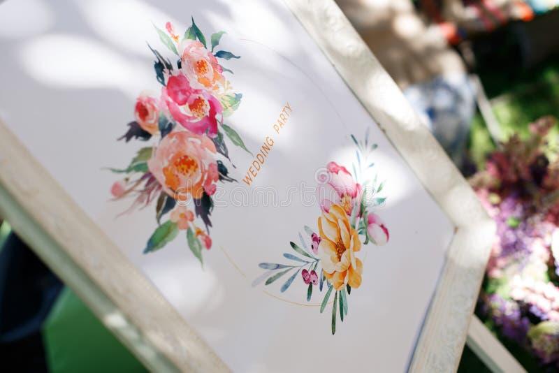 室外婚礼聚会的装饰元素 免版税库存图片
