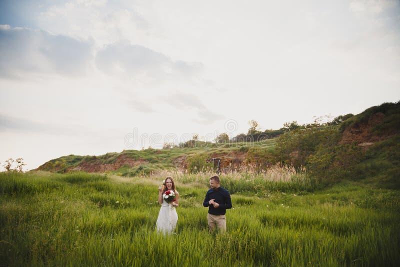 室外婚礼,时髦的愉快的新婚佳偶在显示有婚戒的绿色领域站立手指 免版税库存照片