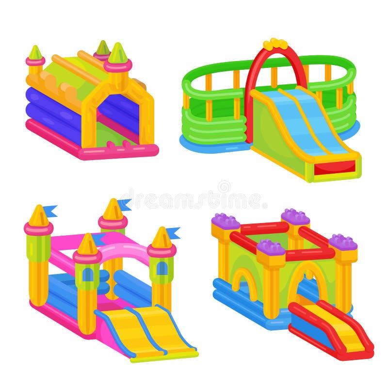 室外孩子乐趣的可膨胀的五颜六色的城堡 向量例证