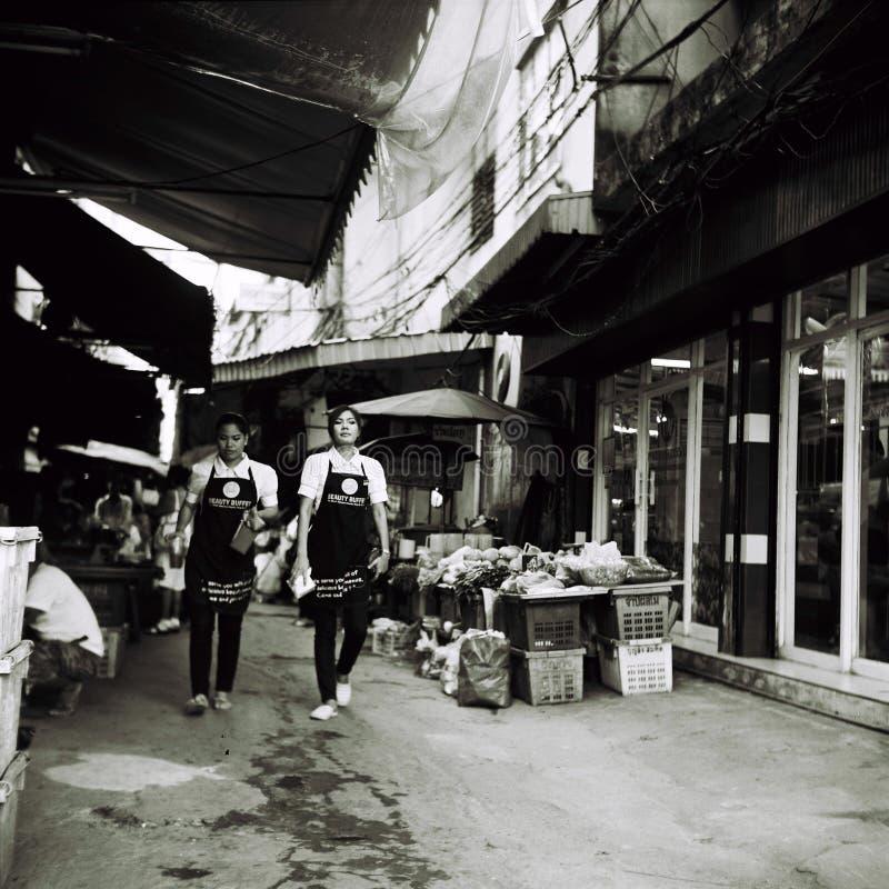 室外市场在曼谷 库存照片