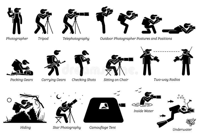 室外摄影师摄影齿轮 向量例证